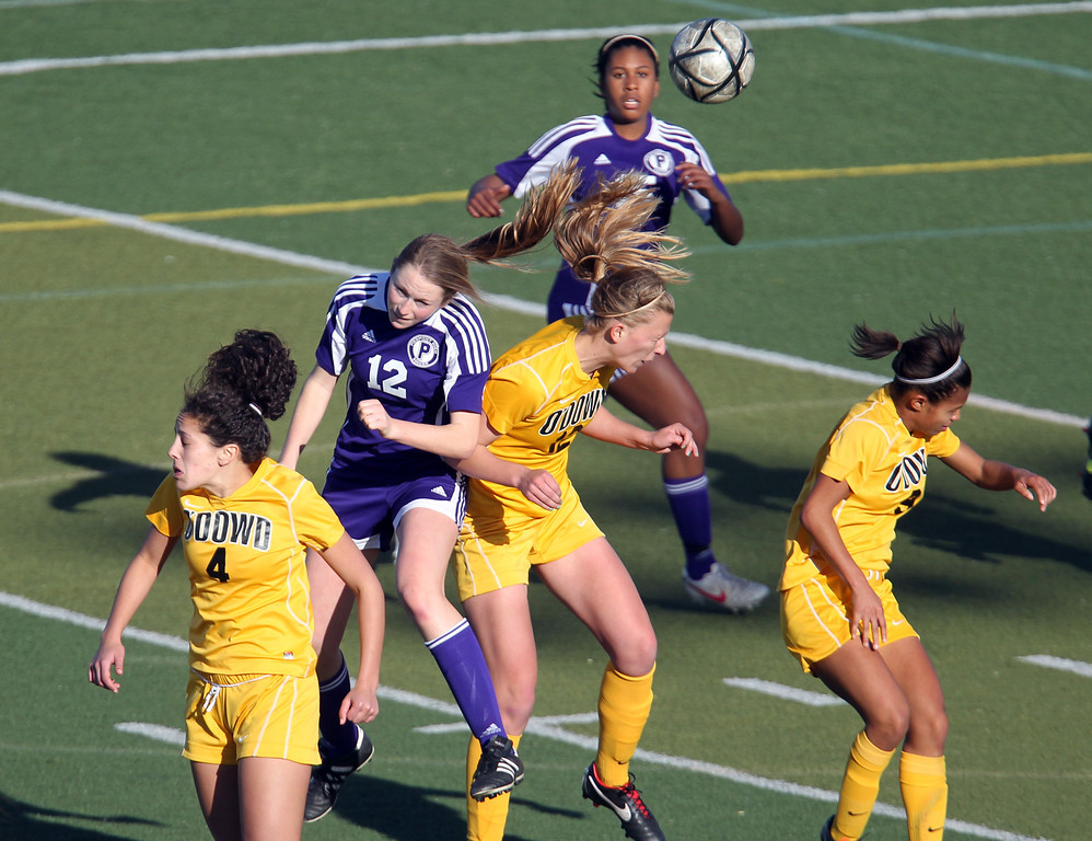 . Bishop O\'Dowd and Piedmont play in the second half of their North Coast Section Division II Girls Soccer Championship at Dublin High School soccer field in Dublin, Calif., on Saturday, Feb. 23, 2013. Bishop O\'Dowd won 3-2 in a series of penalty kicks. (Ray Chavez/Staff)