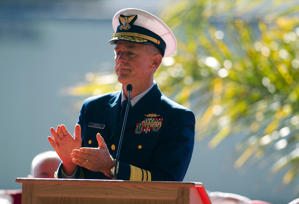 . Vice Admiral Paul Zukunft leads a round of a applause during a memorial service for U.S. Coast Guard Boatswain\'s Mate Third Class Travis R. Obendorf, Thursday, Jan. 30, 2014 on Coast Guard Island in Alameda, Calif. Obendorf suffered fatal injuries while performing his duties aboard the Coast Guard Cutter Waesche as part of a search and rescue off the coast of the Alaska in November 2013. (D. Ross Cameron/Bay Area News Group)