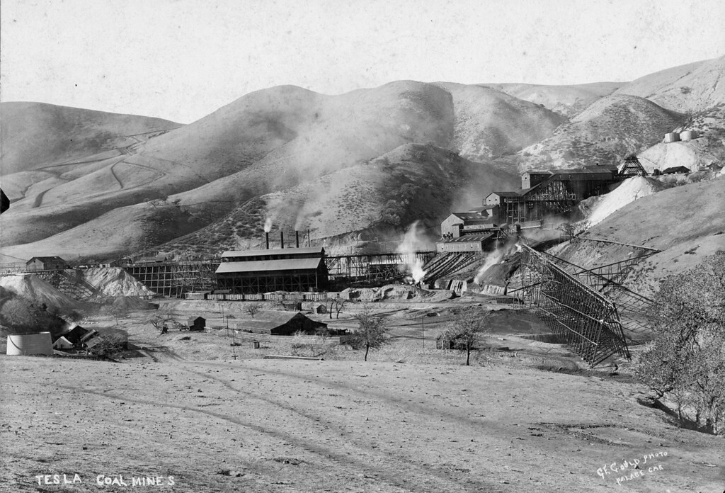 ". Tesla coal mines, looking west, by photographer G. E. Gould, ""Palace Car.\""  (Livermore Heritage Guild Collection)"