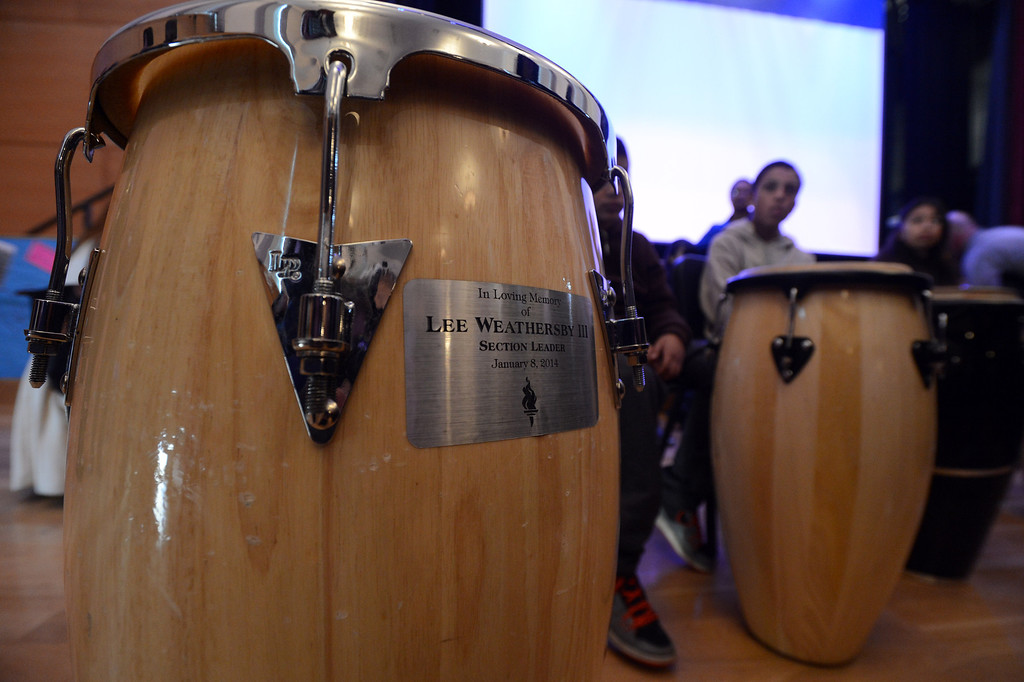 . A drum is dedicated to the memory of slain teenager Lee Weathersby III at Alliance Academy in Oakland, Calif. on Wednesday, Jan. 8, 2014. (Kristopher Skinner/Bay Area News Group)