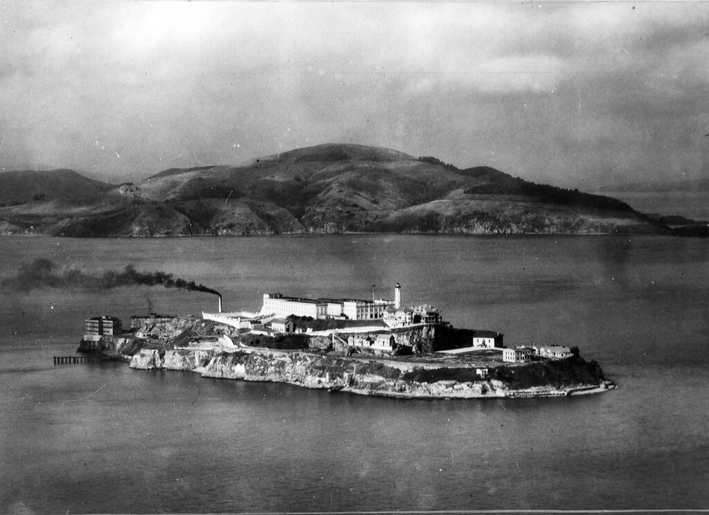 ". Alcatraz Island in October 1933 when the army disciplinary barracks were transferred by the War Department to the Attorney General\'s office for a federal penitentiary for harden criminals and ""rebellious inmates\"" of other federal prisons. (AP Photo/Tribune archives)"