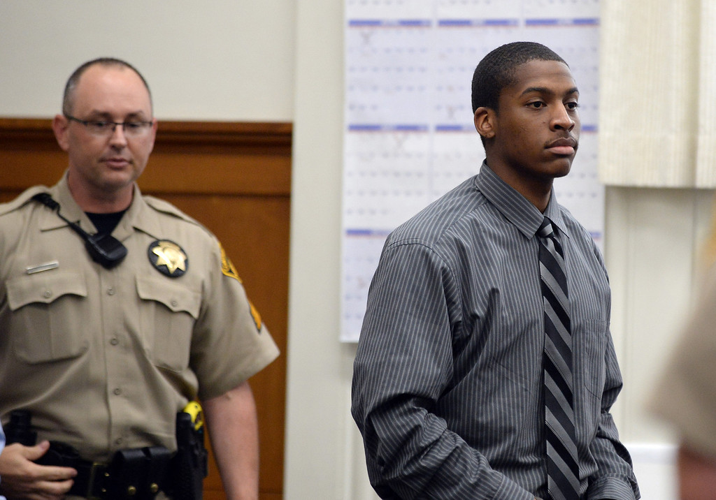 . Defendant Marcelles Peter enters the courtroom at the Wakefield-Taylor courthouse in Martinez, Calif., on Thursday, July 18, 2013. Two separate verdicts were read in the Richmond High gang rape trials Marcelles Peter and Jose Montano with Judge Barbara Zuniga presiding. Juries in both cases brought back guilty verdicts. (Dan Honda/Bay Area News Group)