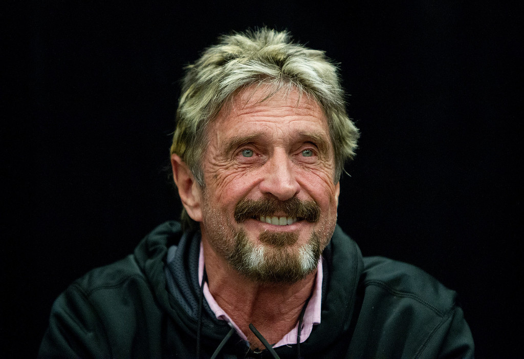 ". John McAfee reacts to a question at the ""Fireside Chat with John McAfee\"" talk during the C2SV Technology Conference + Music Festival at the McEnery Convention Center in San Jose, Calif., on Saturday, Sept. 28, 2013.   (LiPo Ching/Bay Area News Group)"